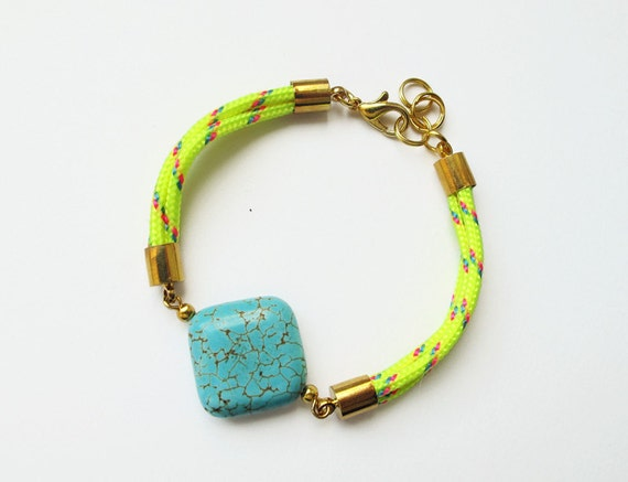 Neon yellow bracelet with turquoise coloured gemstone