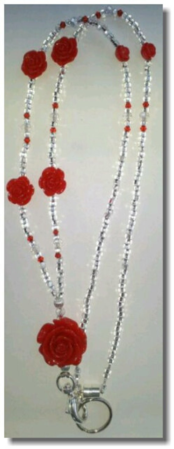 Beaded Lanyard  Rose Beads Clear Czech Crystals LQexpressions
