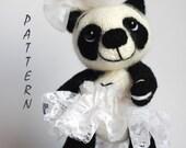 Panda Girl Bear - knitting pattern (knitted round)
