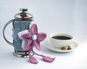 PINK FLOWER French Coffee Press Coffee Cozy  - pdf Knitting Pattern