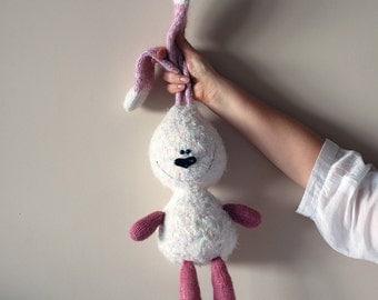 White rabbit with pink ears - pdf knitting pattern