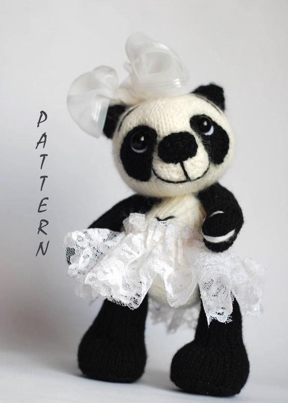 Panda Bear Knitting Pattern : Items similar to Panda Girl Bear - knitting pattern (knitted round) on Etsy