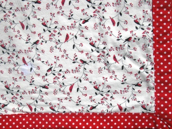 Spring Cleaning Sale-Cardinal red birds and red with white polka dots blanket throw lovey