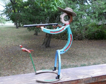 Metal Sculpture Pheasant Hunter Horseshoe Sculpture Yard Art Garden Art Outdoor Indoor