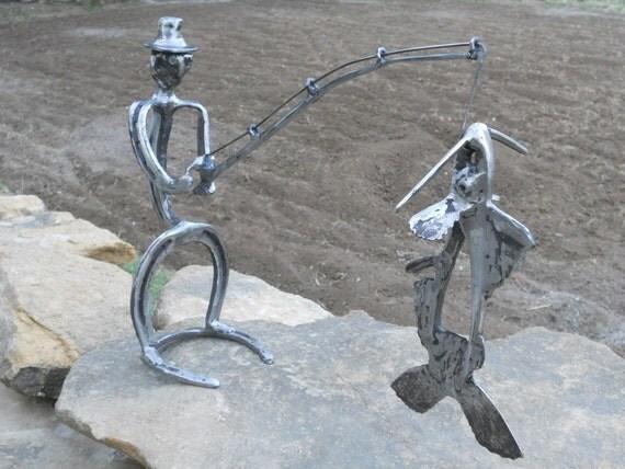 Fisherman Metal Sculpture Found Objects Yard Art Garden Art