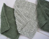 Set of Three Sage Green and White Cotton Knitted Dishcloths