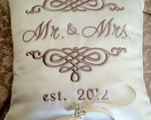 Mr. & Mrs. Personalized Ring Bearer Pillow VIII (RB123)