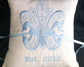 Fleur De Lis Embroidered Ring Bearer Pillow (RB103)