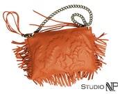 "Orange soft leather dragon purse - ""Lilly"""