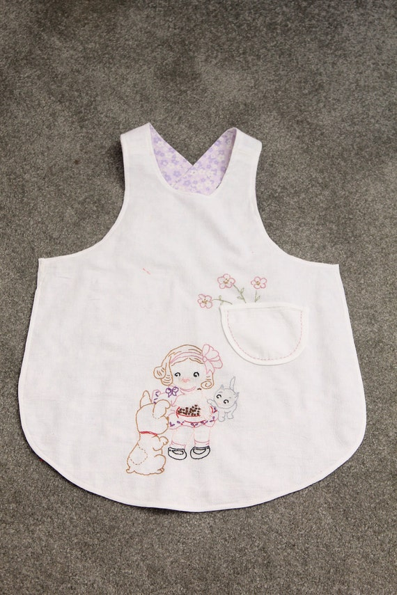 Special order for Angela - Apron, Child, Hand Embroidery, Reversible
