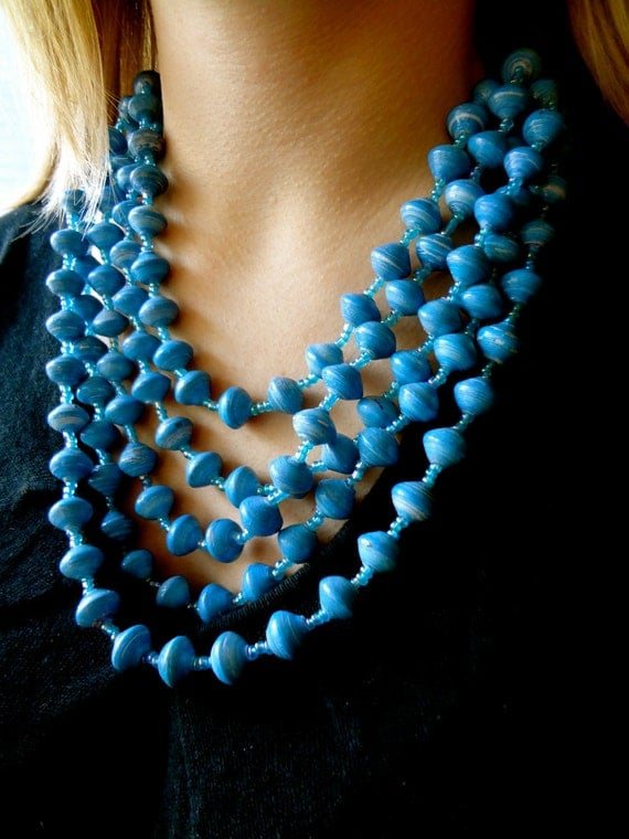Bright Blue Multi-strand recycled paper bead necklace