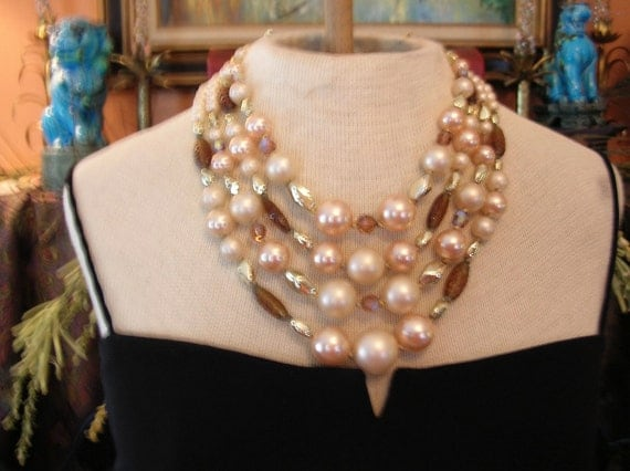 Vintage Necklace--AB Amber Glass 4 Strand Pearl Necklace Old Hollywood Glam Beautiful-Vintage Jewelry