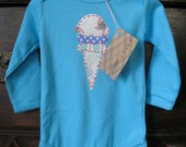 Ice Cream Cone Hand Applique Neutral Onesie- Turquoise, Long-Sleeved, 6-12 Months