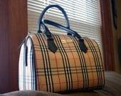 Authentic Burberry Beige Plaid Bowler Bag
