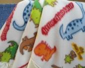 "Personalized Baby Boy Blanket, Custom Embroidered, Baby Dinosaurs Fleece,  30"" x 40"""