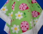 """Personalized Baby Toddler Blanket Girl, Ladybugs and Spring Flowers Fleece, Custom Embroidery,  30"""" x 40"""""""