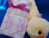 """Lovey Baby Blanket Personalized,  Pink Whales, Custom Embroidered, 16"""" x 16"""""""