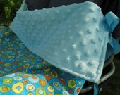 "Stroller Blanket with Ties, Car Seat Blanket, Baby Carrier Blanket, Blue Dots, Boy, 23"" x 29"""