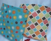 """Reusable Snack and Sandwich Bags, Pacifier Pouch,  Blue Circles and Squares, 6"""" x 7"""" School Supplies Lunch Bags"""