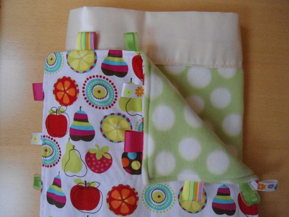 """Personalized Satin Baby Blanket and Taggy Blanket Set, Green Dot Fleece, Custom Embroidered, 30"""" x 40"""""""