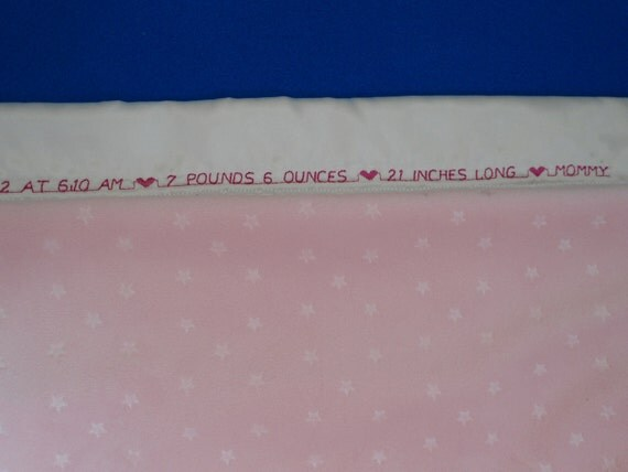 """Personalized Baby Blanket Girl,  Pink Star Minky,  Custom Embroidery,  30"""" x 40"""""""