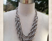 Multi Linked Solid Silver Necklace