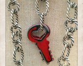 Two painted vintage red key necklace