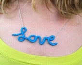 Reserved for Jersenia - Cobalt Blue Love Sign Written Necklace