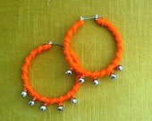 Tribal/Ethnic Inspired Orange Hoop Earrings With Jingle Bells