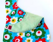 Baby bib light green stripes and turquoise with little flowers stylish baby bib by Shiny K