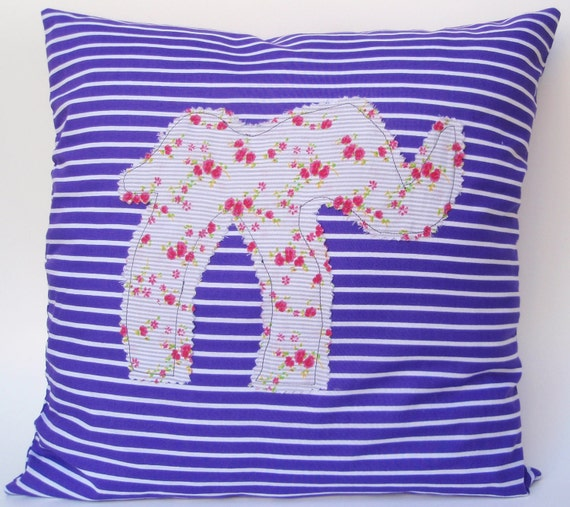Nursery decoration. Baby and children Pillow Purple and white stripes pillow with elephant patch for room decoration