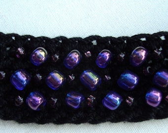 13 Inch Black Crocheted Choker Necklace with Purple Glass Beads
