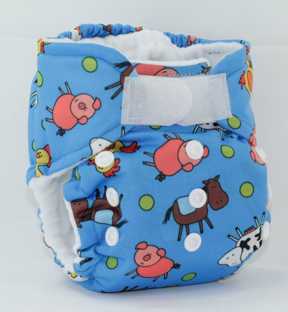 Blue Farm Newborn Pocket Cloth Diaper Anibums Size 1