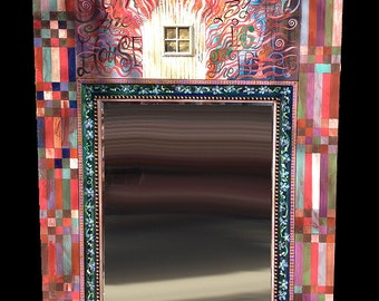 Burn Down The House - Wood Framed Painted Decorative Mirror