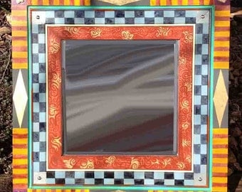 Wood Framed Square Beveled Mirror - Cheques and Stripes Decorative Mirror