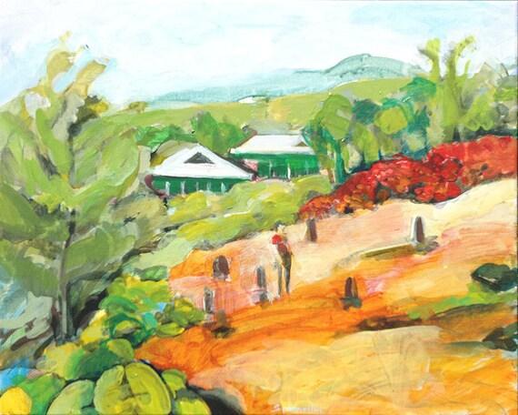 Painting of Japanese Cemetery, Red Sand Beach, Hana, Maui