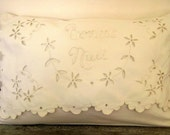 """Vintage """"Bonne Nuit"""" Lumbar Pillow Cover Scalloped Embroidered Eyelet"""