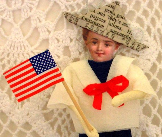 Folksy Antique Style Spun Cotton Patriotic Boy Ornament