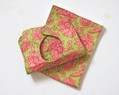Reserved Listing for Na'ima - Bib & Burp Cloth Set, Dotty Floral Bib, Flower Garden Diaper and Wipes Pouch