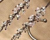Evening Earrings. Swarovski Cluster Earrings. Cocktail Earrings. Vintage Style Evening Jewellery. Cocktail Jewellery. Long Crystal Earrings.