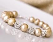Crystal Rhinestones & 925 Sterling Silver Freshwater Pearl Bridal Bracelet. Golden Bridal Pearl Bracelet. Sterling Silver Wedding Jewellery.