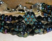 Rainbow Iris Flowers Jet Crystals  OOAK Three Strand Bracelet