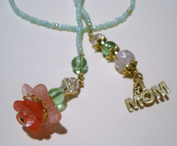 Flowers for Mom Beaded Bookmark - Book Thong Acrylic Flowers Crystals Bookmark