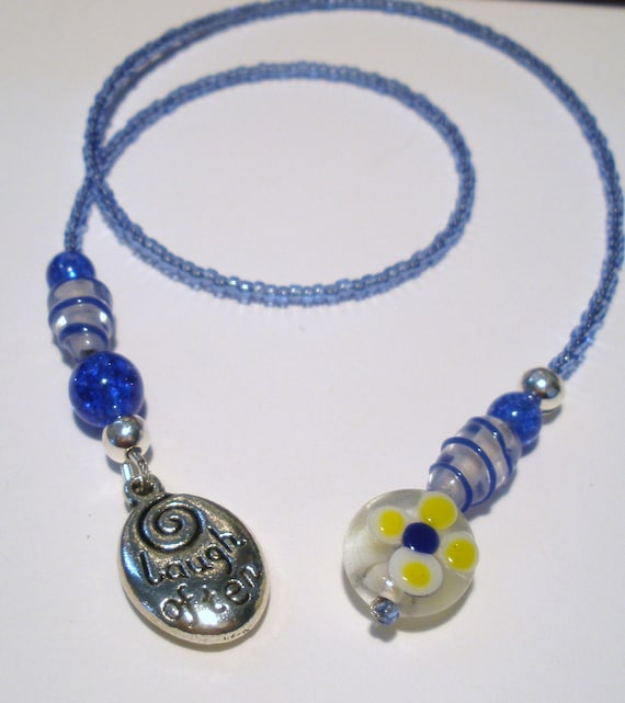 Beaded Bookmark Love Much Saying Charm with Blue - Yellow Flower Bead- Book Thong