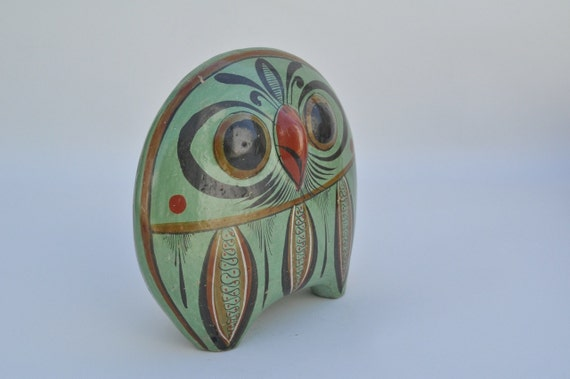 Large vintage Mexican pottery owl