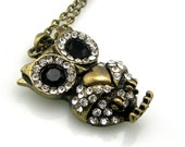 Vintage Owl Pendant Necklace Black and Clear Rhinestones