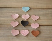 Free shipping - 10 hearts leather cutout embellishments