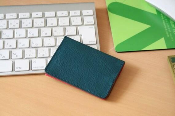 Leather credit card holder - blue