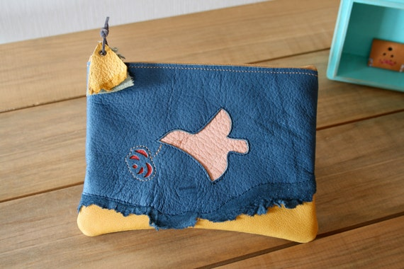 Bird and flower motif stitched, One of a kind, Zipper pouch