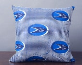 SALE Blue Bird African Print & Multi-Colour Abstract Handmade 16x16 Pillow Cover